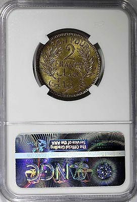 TUNISIA Anonymous Aluminum-Bronze AH1360//1941 2 Francs NGC MS64 TOP GRADE KM248 3