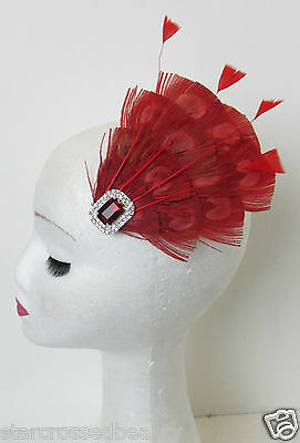 Red Peacock Feather Vintage Fascinator 1920s 1940s Races Hair Clip Art Deco P62 4