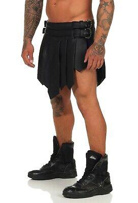 XS-XXXL*Gladiator Skirt Kilt  Schwarz 2 Gürtel & Schnallen Echt Leder Larp NEU 8