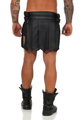 XS-XXXL*Gladiator Skirt Kilt Rock Schwarz Echt Leder 4 Schnallen & Gürtel NEU 6