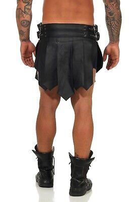 *XS-3XL Gladiator Kilt Echt Leder Legionär Rock Schwarz 2 Gürtel 4 Schnallen B 6