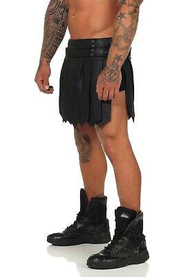 XS-XXXL*Gladiator Skirt Kilt Rock Schwarz Echt Leder 4 Schnallen & Gürtel NEU 5