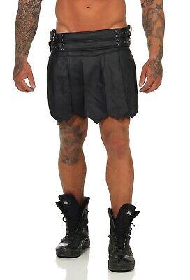 XS-XXXL*Gladiator Skirt Kilt Rock Schwarz Echt Leder 4 Schnallen & Gürtel NEU 4