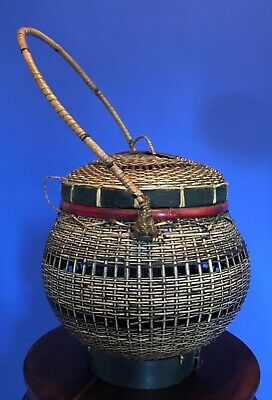 Antique Vintage Asian Hand Woven Basket w/ Handle & Lid - Chinese Japanese 4