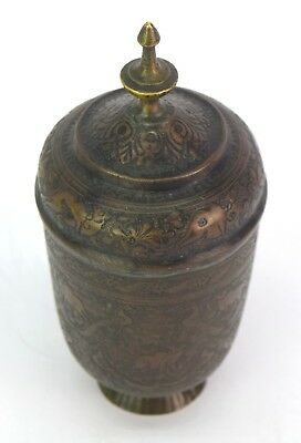 Real Mughal Rare Old Unique Shape Hand Crafted Animal Figures Brass Pot G3-52 US 3