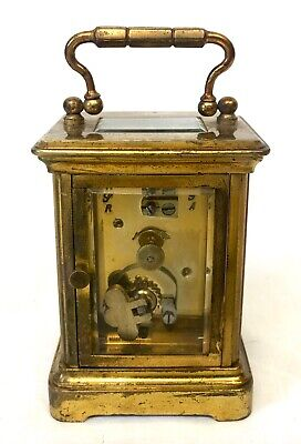 Antique 8 day Miniature Brass Carriage Clock Timepiece with Travelling Box Case 7