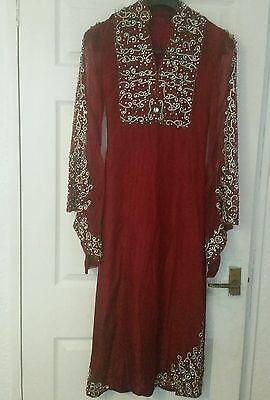 Deep red / Burgundy Silk  Heavy Jewelled Diamante work long kameez/pajama suit 4