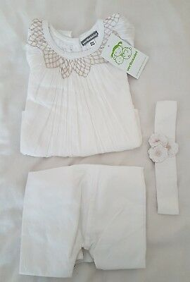 BNWT Girls 3 yrs white 3 pc outfit set top bottoms headband Vertbaudet 3