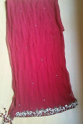Deep red / Burgundy Silk  Heavy Jewelled Diamante work long kameez/pajama suit 11