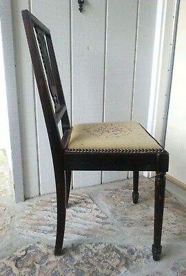 Antique Harp Chair Walnut with Needle point 5