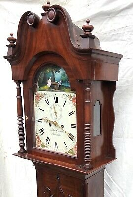 ~ Antique Mahogany ROCKING SEESAW Longcase Grandfather Clock GARMAN MEONSTOKE 6