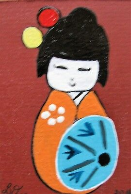 "A847     Original Acrylic Aceo Painting By Ljh ""Folk Art Cat"" 11"
