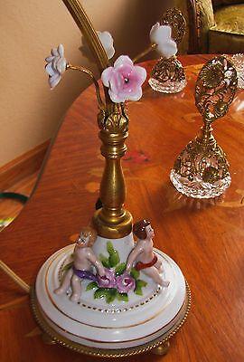 VTG DECO ERA CHERUB FIGURES ~FANTASTIC TABLE LAMP GLASS SHADE CHANDELIER 40's 9