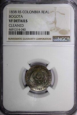 COLOMBIA BOGOTA Nueva Granada Silver 1838 RS 1 Real NGC VF DETAILS RARE KM# 91.1 2