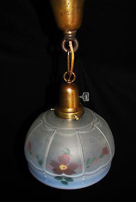 Art Deco Antique Pendant Swag Glass Shade Slip Ceiling Light Fixture Chandelier 7