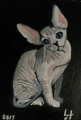 "C77    Original Acrylic Painting By Ljh       ""Pinkie""   Sphynx  Cat 2"