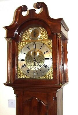 Antique Musical Tube Quarter Chiming Mahogany Longcase Grandfather Clock WORKING 3