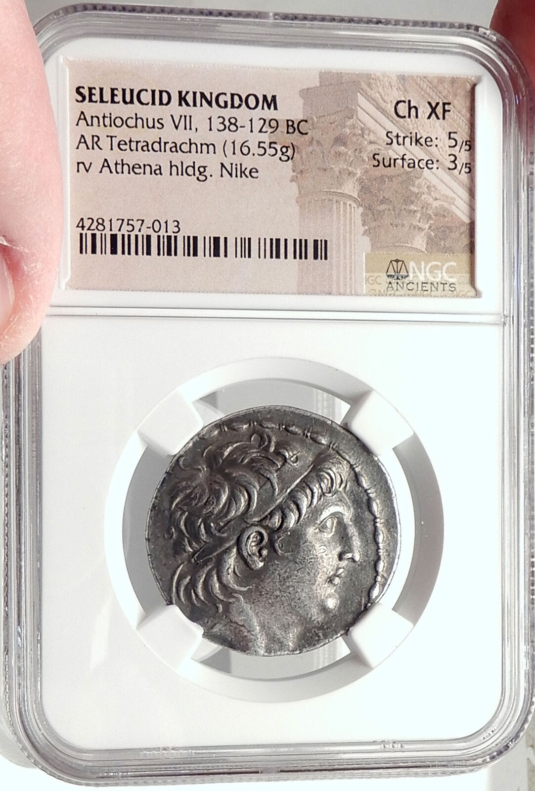 ANTIOCHOS VII Sidetes Seleukid Ancient Silver Greek TETRADRACHM Coin NGC i68736 3