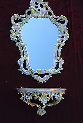 Wall Mirror Baroque White Gold with Console Table Antique Tray Shelf in the Set 2