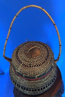 Antique Vintage Asian Hand Woven Basket w/ Handle & Lid - Chinese Japanese 5