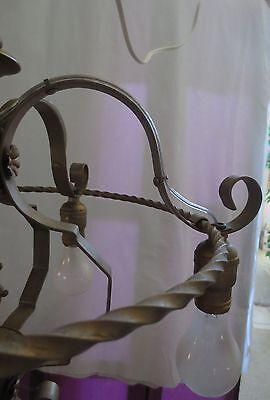 Antique Brass Chandelier 5 On Off Light Fixture  Art Deco Rewired 3