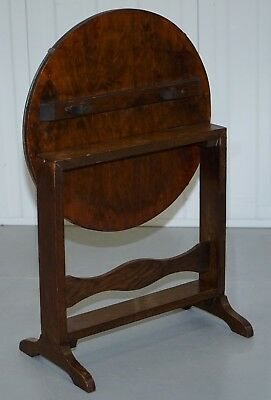 Rare English Oak Tilt Top Side Table With Hand Painted Picture Glass Case Lovely 12