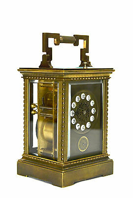 French Style Petite Sonnerie Striking Quarter Repeater Brass Carriage Clock 2