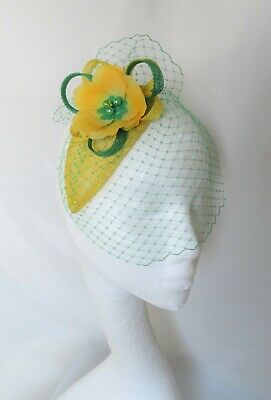Canary Daffodil Yellow & Emerald Green Fascinator Headpiece Wedding Ascot Races 2