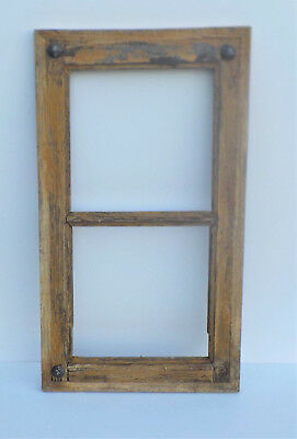 "SPANISH COLONIAL ANTIQUE 2 PANE WINDOW FRAME MEXICO 28 1/8 x 15 3/4 x 1 1/8"" ""x"""