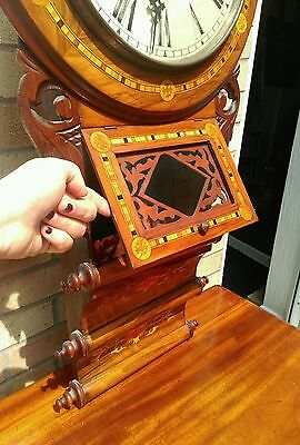 Antique American tunbridgeware inlaid superior 8 day wall clock ornate walnut? 7