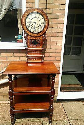 Antique American tunbridgeware inlaid superior 8 day wall clock ornate walnut? 6