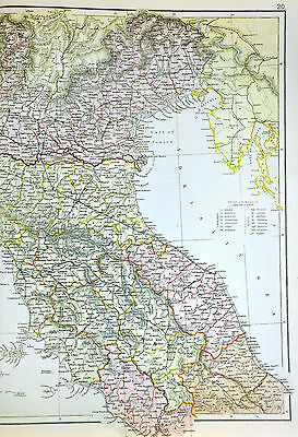 Map Of North Italy.1883 Blackie Map North Italy Venice Florence Milan Rome Genoa Turin Sardinia