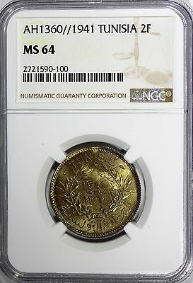 TUNISIA Anonymous Aluminum-Bronze AH1360//1941 2 Francs NGC MS64 TOP GRADE KM248 2