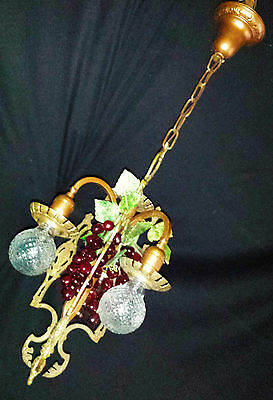 Vtg Gothic Revival Deco  Metal Chandelier Fixture Wine Country Grape Clusters 2