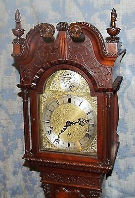 Antique Mahogany Grandmother Clock / Miniature Longcase : Westminster Chimes 4