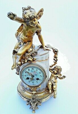 Antique French Onyx Marble Mantel Clock With Cherubs Gilt Bronze 8 Day 19Th C 2