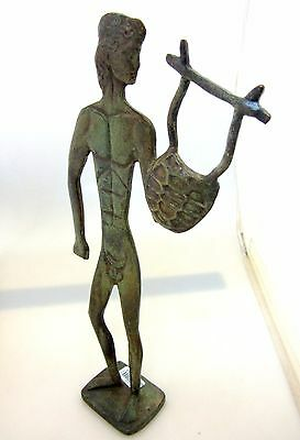 Ancient Greek Bronze Olympian God Pantheon Sculpture Statue Apollo With A Harp 3