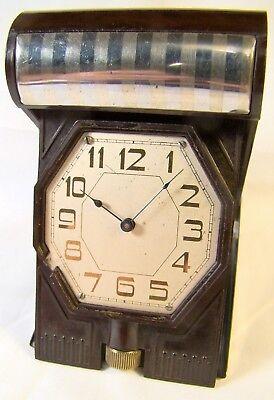 Antique Rare Waltham Crescent St Lever Set Bakelite 21 Jewel Watch Clock Working 2