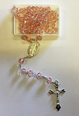 LIGHT Pink Crystal ROSARY Beads Necklace With Crucifix 2