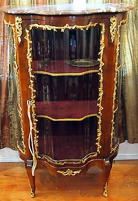 """Vitrin 19C French Bronze Work And Glass Doors  With Marbel Top :57"""" High 2"""