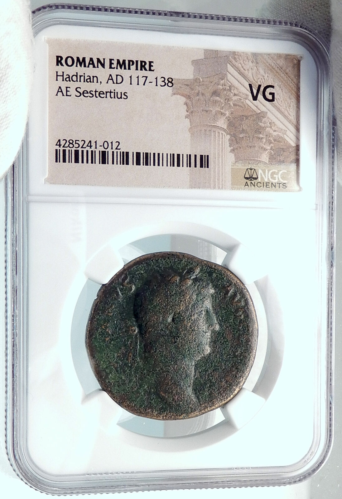 HADRIAN Authentic Ancient 134AD Rome Sestertius HUGE Roman Coin DIANA NGC i81879 3