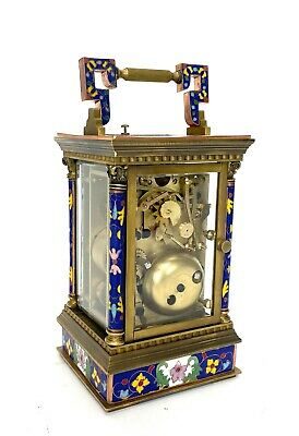 French Style Floral Blue Enamel Brass 8 Day Repeater Calendar Carriage Clock 4