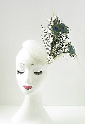 Grey Cream Ivory Feather Fascinator Headpiece Hair Clip Hat Races Ascot Vtg 2478