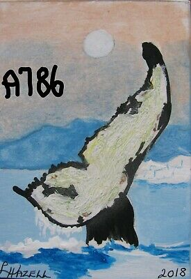"""A871    Original Acrylic Aceo  Painting By Ljh        """"Octopus"""" 3"""