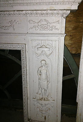 Antique Newport Rhode Island Fireplace Mantel w Figural Designs Hope & Charity 3