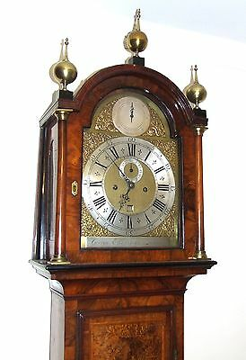 ~ RARE MONTH GOING Antique Walnut  Longcase Grandfather Clock Etherington LONDON 3