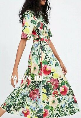 NWT/_ZARA SS19 WOMAN LONG A-LINE FLORAL PRINT DRESS BELT MULTICOLOURED  2313//717