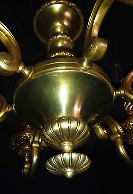 Vintage Deco Era Victorian Solid Cast French Brass chandelier light fixture. 7