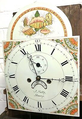 * Antique Somerset 8 DAY Inlaid Oak Grandfather Longcase Clock SULLEY of STOWEY 8