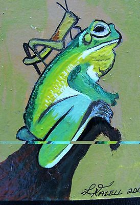 """A871    Original Acrylic Aceo  Painting By Ljh        """"Octopus"""" 11"""